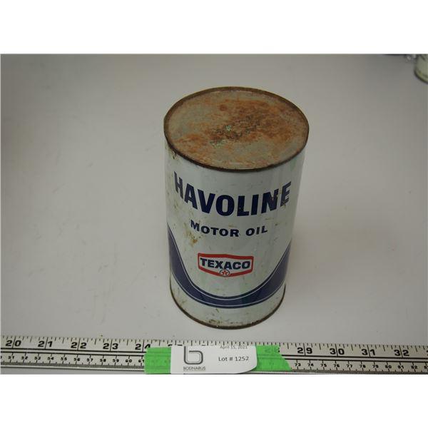 Havoline Texaco Motor Oil Full One Imperial Quart Can