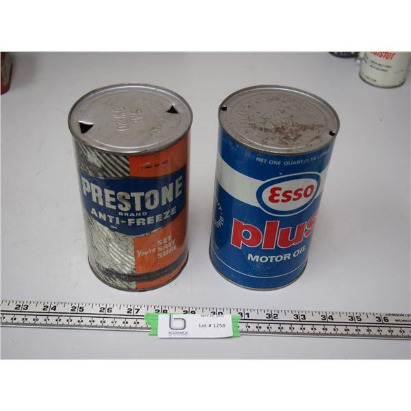 (2X THE MONEY) Esso Plus Motor Oil, Prestone Antifreeze 1 Litre Cans