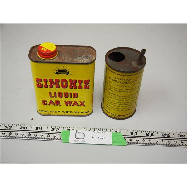 Coleman Measuring Can and Simoniz Liquid Car Wax Tin