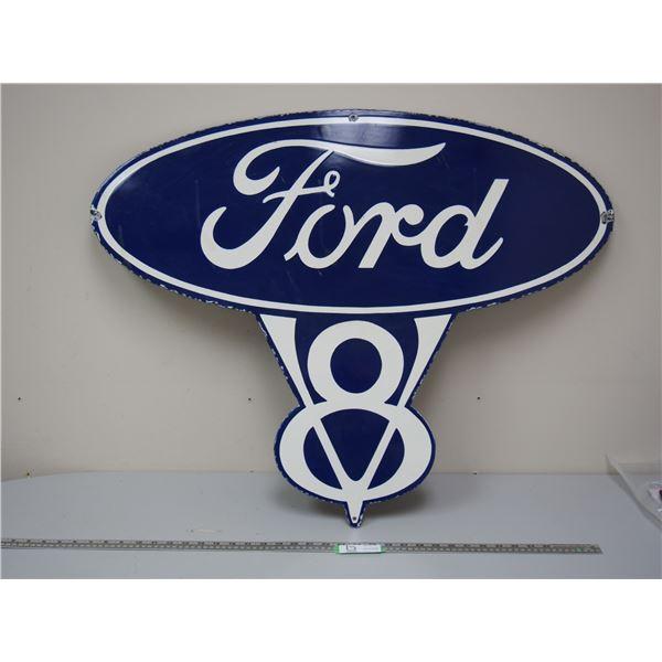 """Ford V8 Porcelain Sign (28"""" x 35.5"""")"""