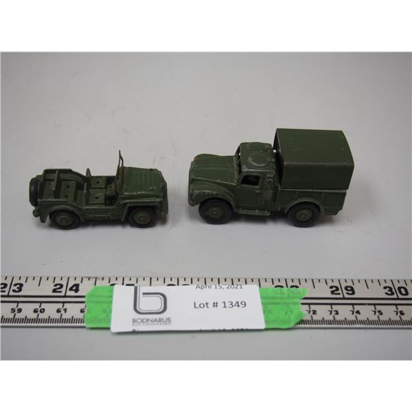 """(2X THE MONEY) Austin Champ Army Jeep plus Army 1 Ton Cargo Truck (2.5"""" and 3"""" long)"""