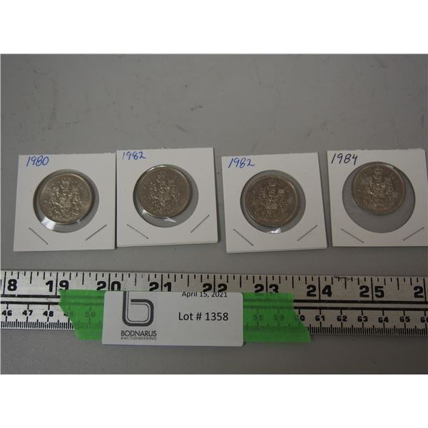 (4) Canadian 50 cent coins 1980, 98, 84
