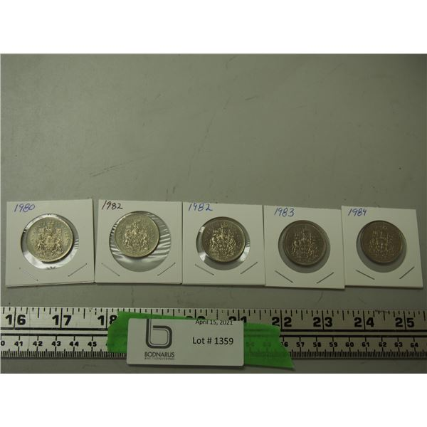 (5) Canadian 50 cent coins 1980, 82, 83, 84