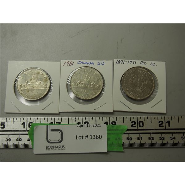 1969 and 1981 Canada One Dollar Coins plus 1871-1971 B.C. Canada Dollar Coin (total 3)