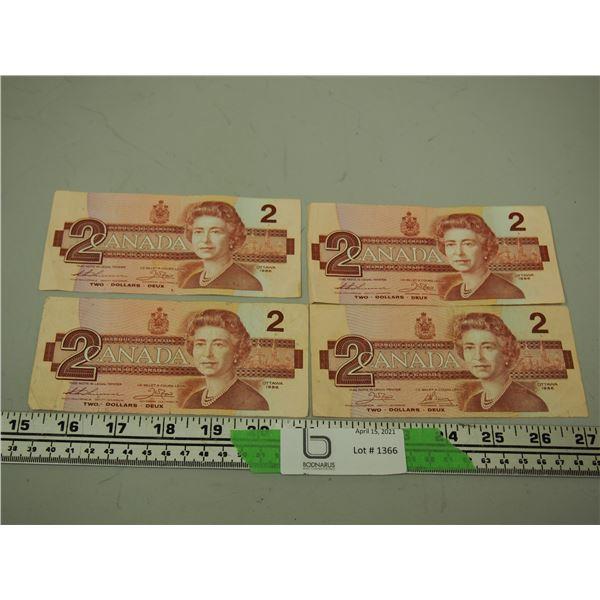 1986 Two Dollar Canadian Bills (4) Circulated