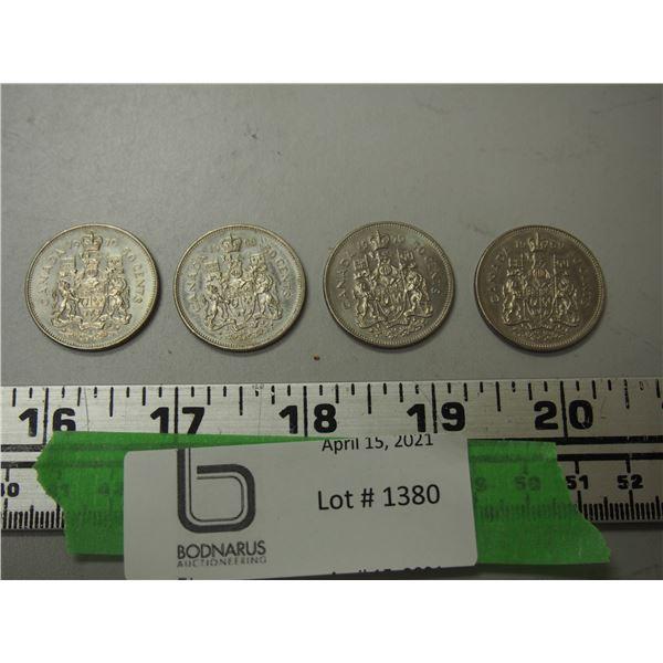 1968, 1969, 1970 50 cent pieces