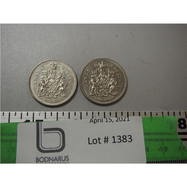 2 1969 50 cent pieces
