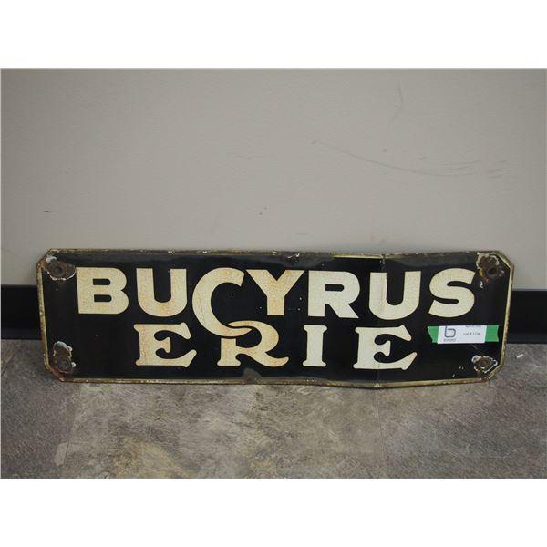 """Vintage Bucyrus Erie Porcelain Sign (7.5"""" x 25"""")"""