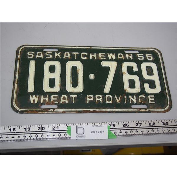 1956 Sask Licence Plate