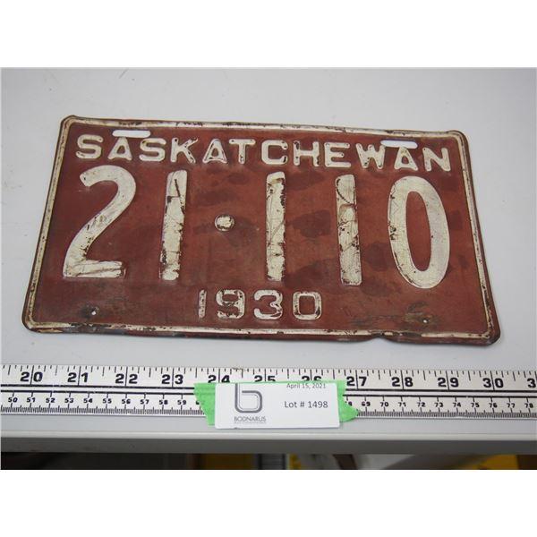 1930 Sask Licence Plate