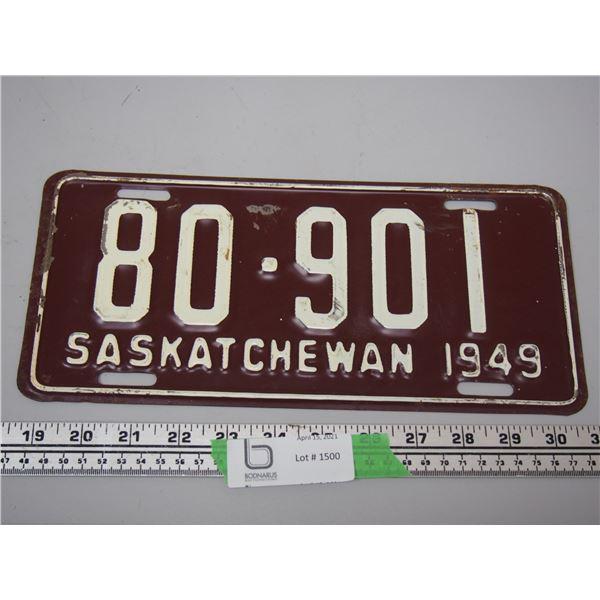 1949 Sask Licence Plate