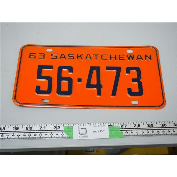 1963 Sask Licence Plate
