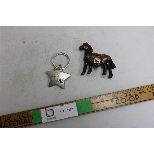 Brass Horse and Texas Key Chain