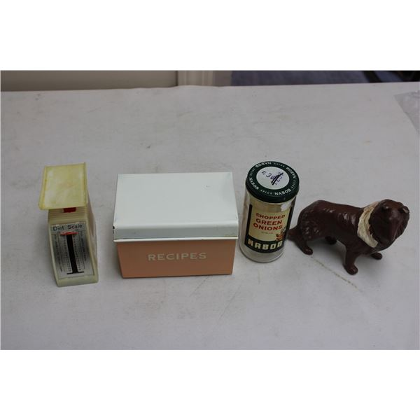 Scale and Tin Box with Dog Figurine