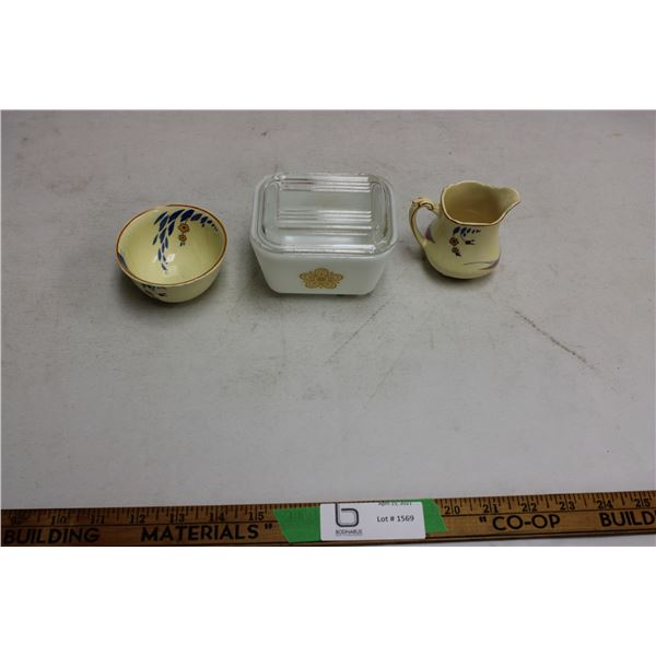 Pyrex Refrigerator Dish Cup and Creamer