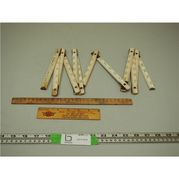 "GWG Measuring Stick Plus 2 Other Measuring Sticks (1 is folding and extends to 72"")"