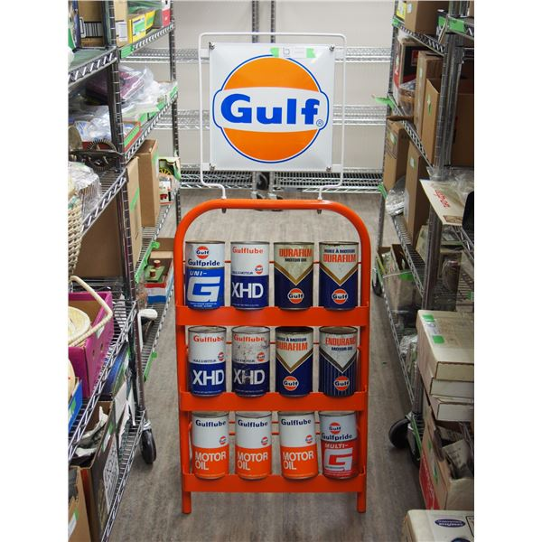 "12 Original Gulf Oil Tins with Rack and Porcelain Gulf Sign on Top (51"" high 19.5"" wide), Empty Cans"