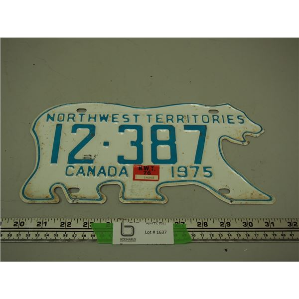 1975 NWT Licence Plate