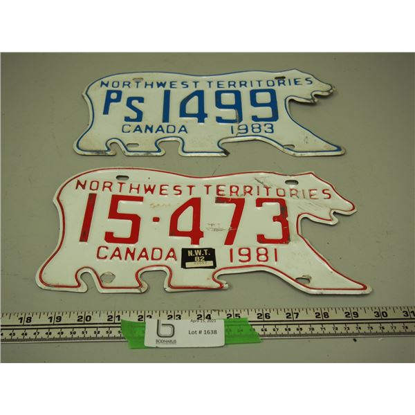 (2X THE MONEY) 1981, 83 NWT Licence Plates