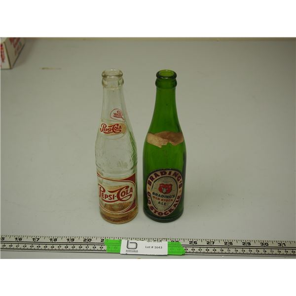 2 Vintage Bottles Pepsi and Brading's Old Stock Ale