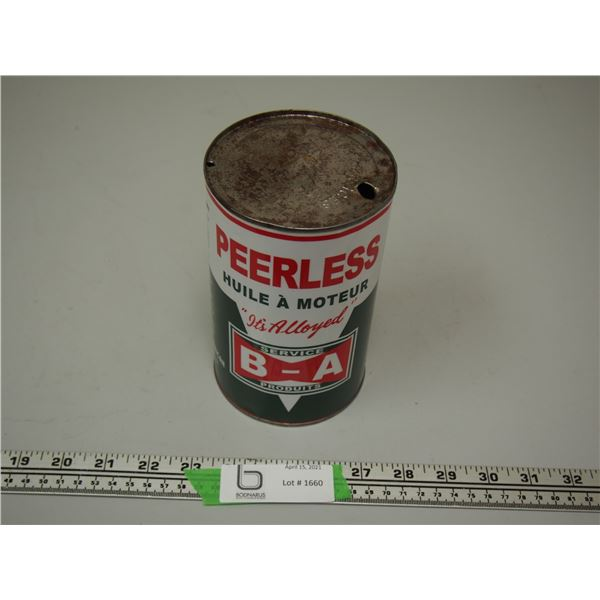 B/A Peerless One Quart Oil Can (empty)