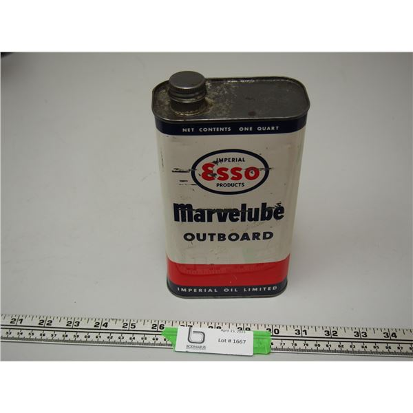 Esso Marvelube Outboard Oil One Quart Can (Empty)