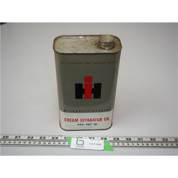 IH Cream Separator Oil One Quart Can (Empty)
