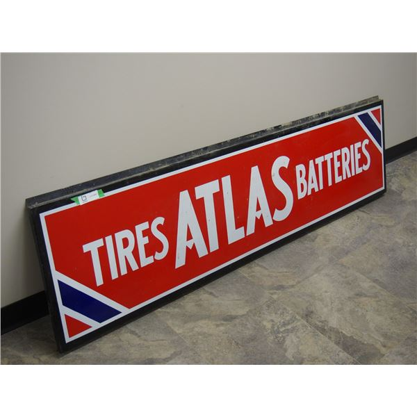 "General Steel Wares Limited Original Flange Atlas Tire Sign (18"" wide x 1 "" flanges x 72"" long)"