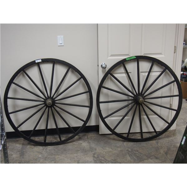"(2X THE MONEY) Buggy Wheels 42"" diameter (2) with hubs"