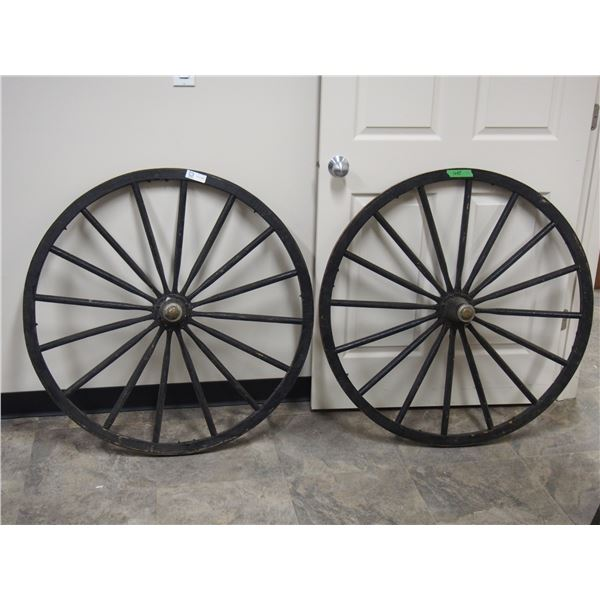 "(2X THE MONEY) Buggy Wheels 38"" Diameter (2) with hubs"