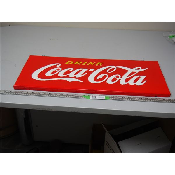 "Coca Cola Hanging Sign (Metal?) (12"" x 28"") Been touched up"