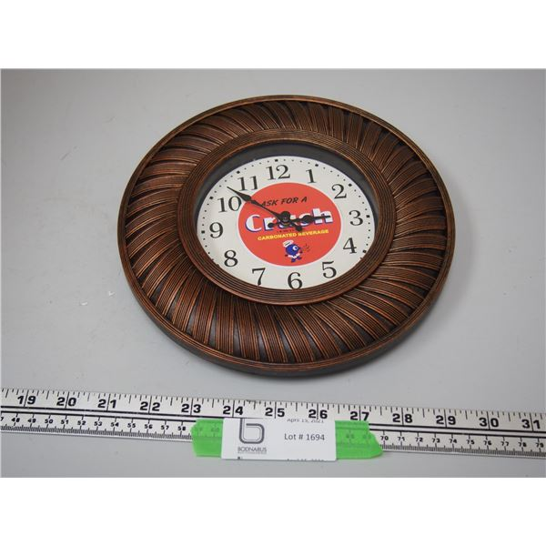 "Battery Powered Orange Crush Clock (working) 9"" diameter"