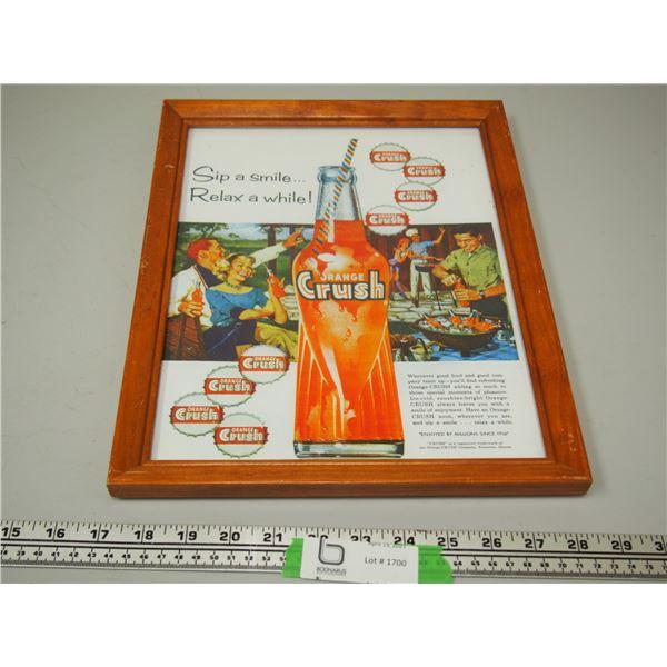 "Orange Crush Framed Ad (11 1/4"" x 14 1/4"")"