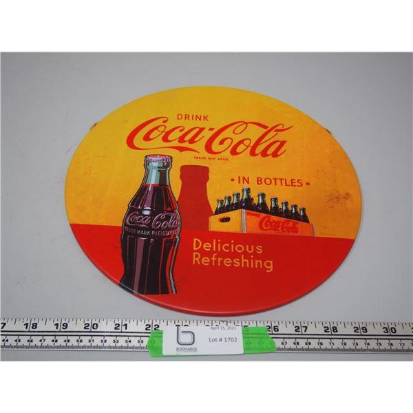 """Coca Cola Tin Button Sign ( 11 3/4"""" diameter)"""