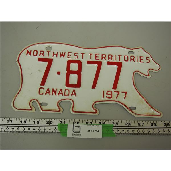 1977 NWT Licence Plate