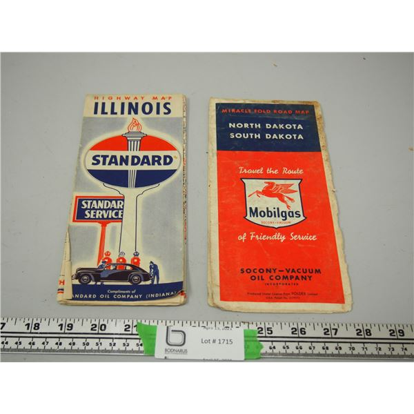 (2X THE MONEY) Mobil Gas and Standard Service Vintage Maps
