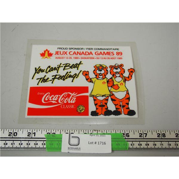 """Coca Cola 1989 Plastic Advertising Item (5 3/4"""" x 7"""")"""