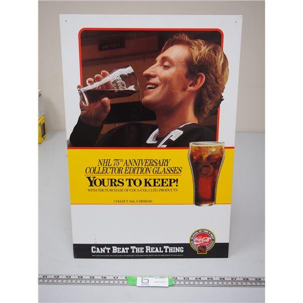 """Coca Cola Wayne Gretzky Cardboard Advertising Sign (14"""" x 21"""")"""
