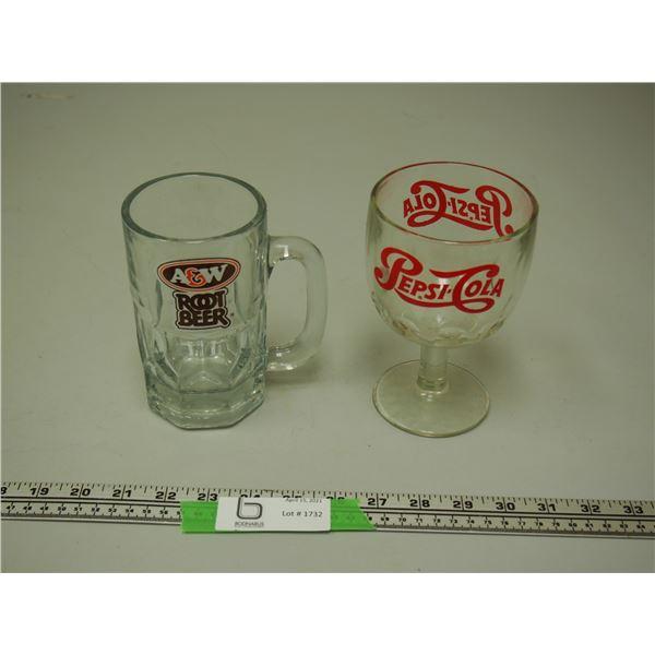 Pepsi Cola and A & W Glasses