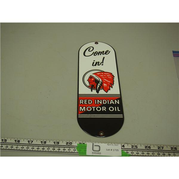 "Porcelain Red Indian Motor Oil Door Push (11 3/4"" long)"