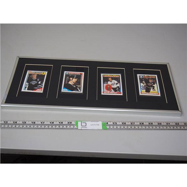 """4 Wayne Gretzky Cards in Frame (frame 8.5"""" x 20.5"""")"""
