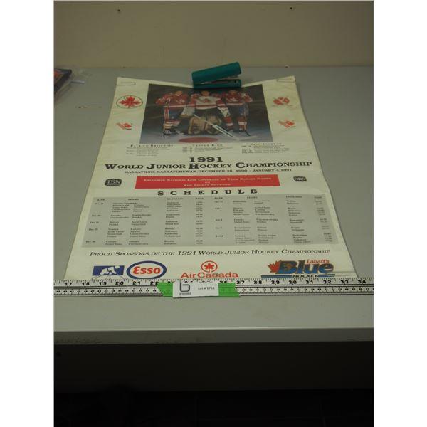 1991 World Junior Hockey Championship Poster Schedule Saskatoon SK