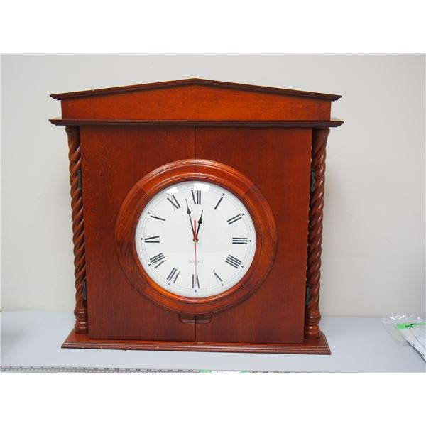 Dart Board and Cabinet with Working Clock Appears Unused