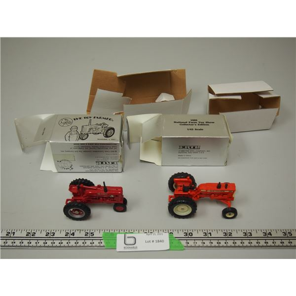 (2X THE MONEY) 1989, 1991 National Farm Show Collector Edition 1/43 Scale IH Farmall Diesel and Alli