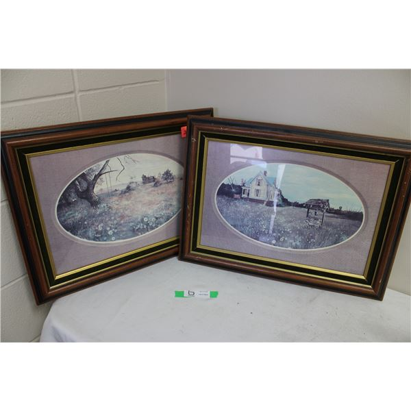 """Pair of Framed Farmyard Pictures 16"""" x 22"""""""