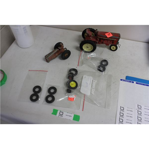 Box of Farm Toys Parts and Turo Parts for Toy Tractors