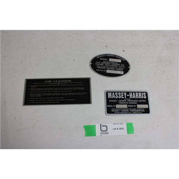 Massey Harris Replacement Tractor Serial Number Plates 3 Pieces
