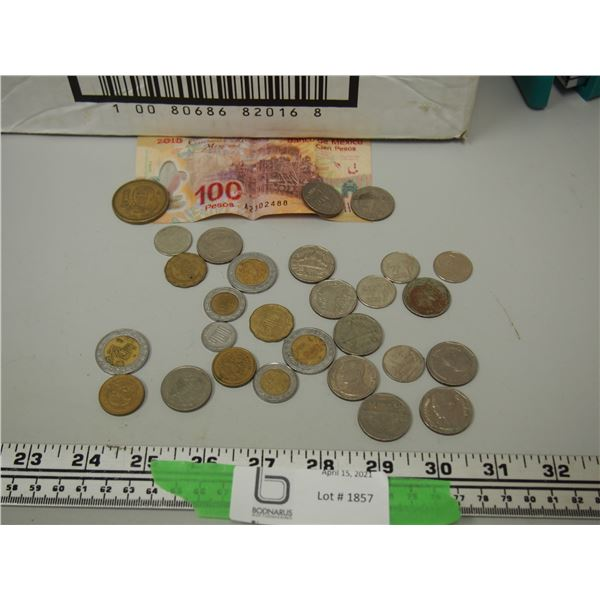 Lot of Foreign Coins and Paper Bill