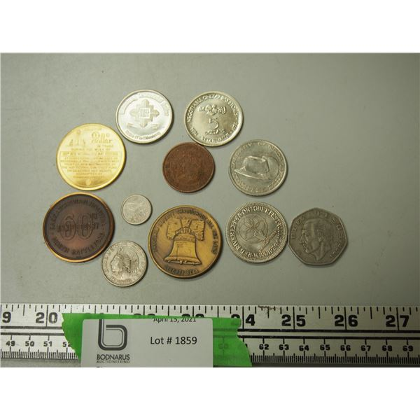 Lot of Foreign Coins, Trade Dollars or Tokens