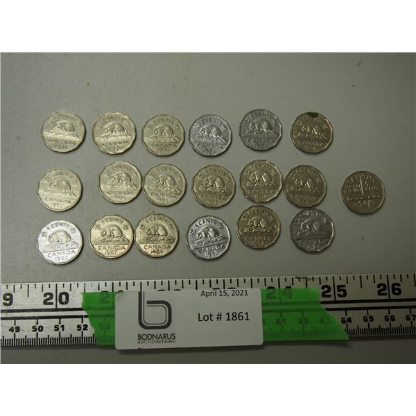 Lot of 1950's Canadian Nickels Including Canadian Nickel 1761-1951